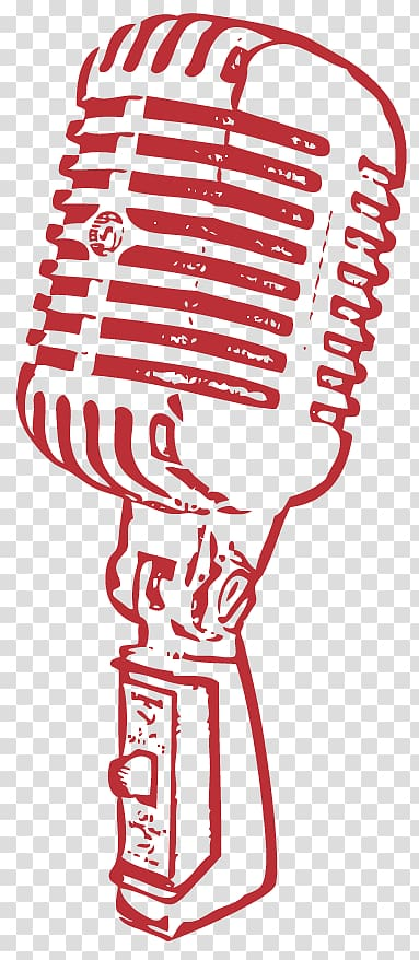 Red condenser microphone illustration, Microphone Drawing.