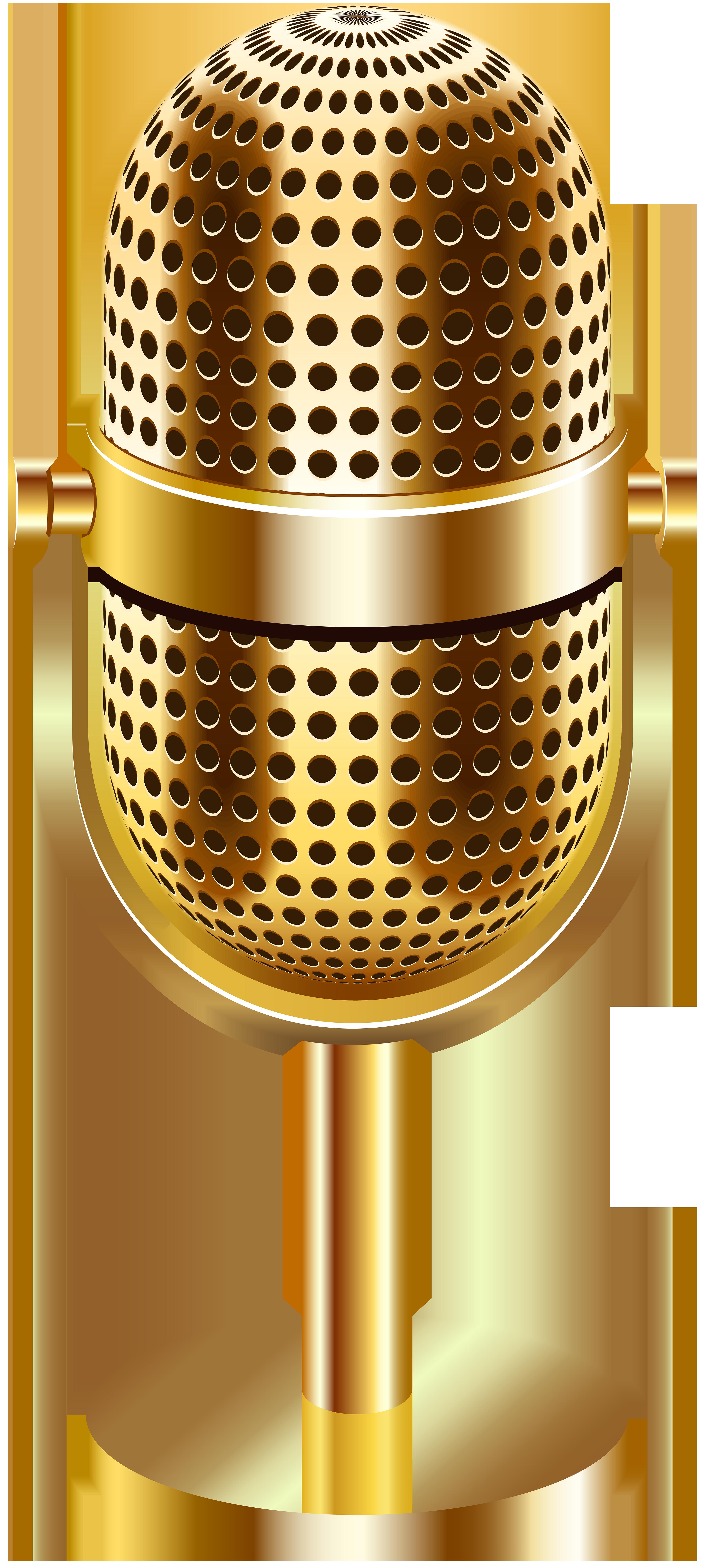 Vintage Microphone Gold Transparent Clip Art Image.