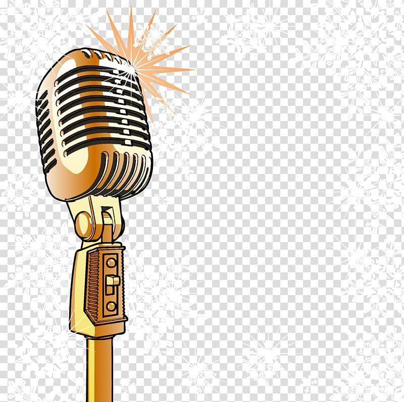 Gold microphone illustration, Microphone , Gold shining.
