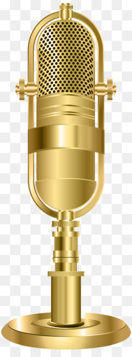 Gold Microphone PNG.