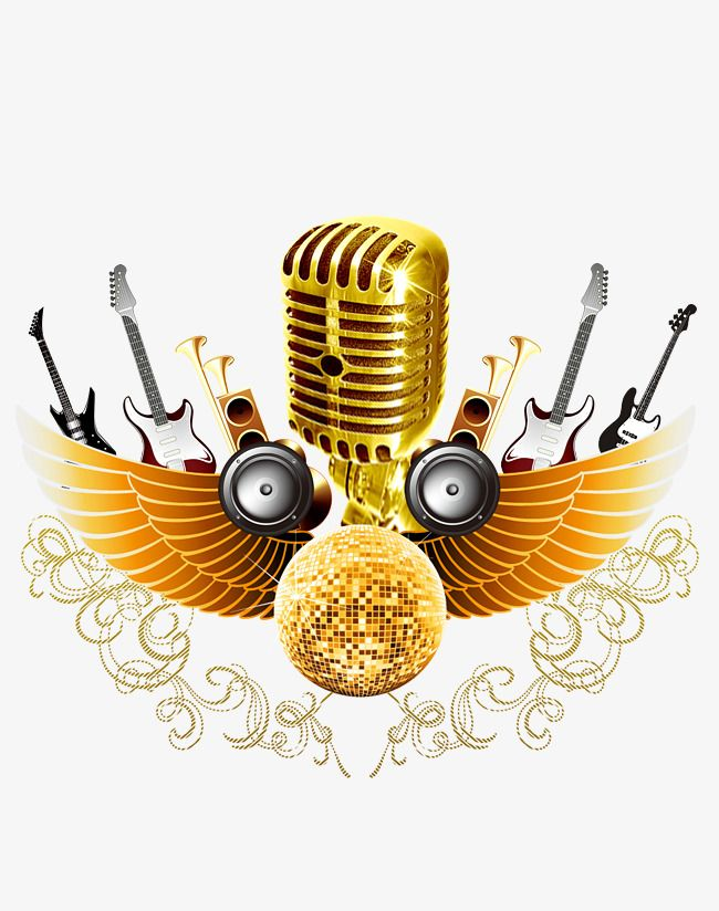Golden Microphone, Microphone PNG Transparent Clipart Image.