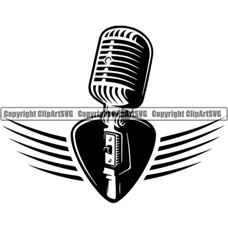 Microphone Logo #3 Audio Sound Recording Record Voice Mic Music Studio  Equipment Radio Broadcast Podcast.SVG .EPS .PNG Vector Cut Cutting.