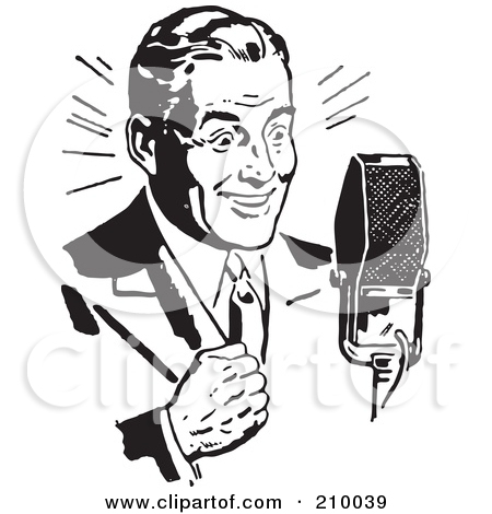 Man talking on microphone clipart.