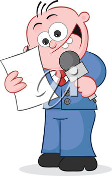 Clipart Illustration of a Man Holding a Microphone.