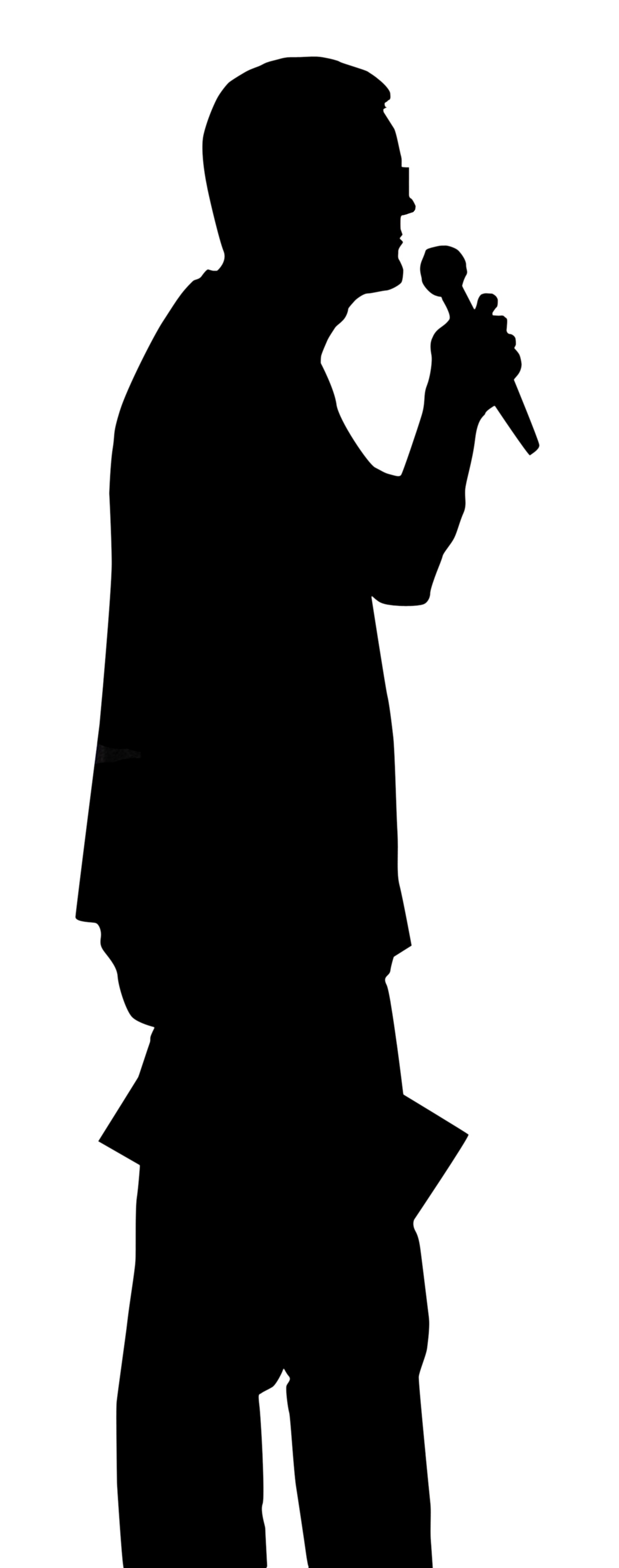 Clipart man with microphone.