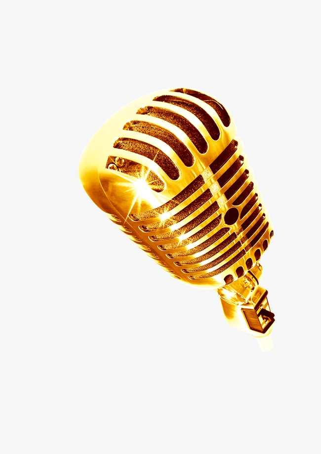 Download Free png Golden Microphone PNG Images.