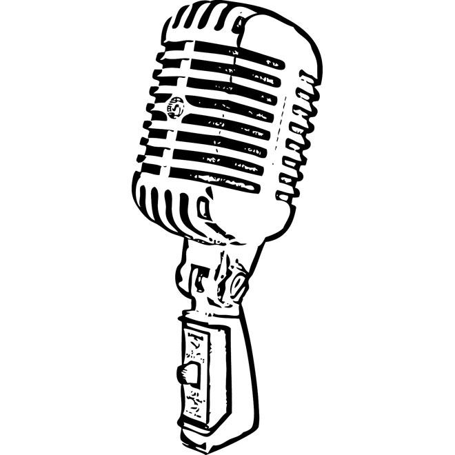Retro microphone vector.