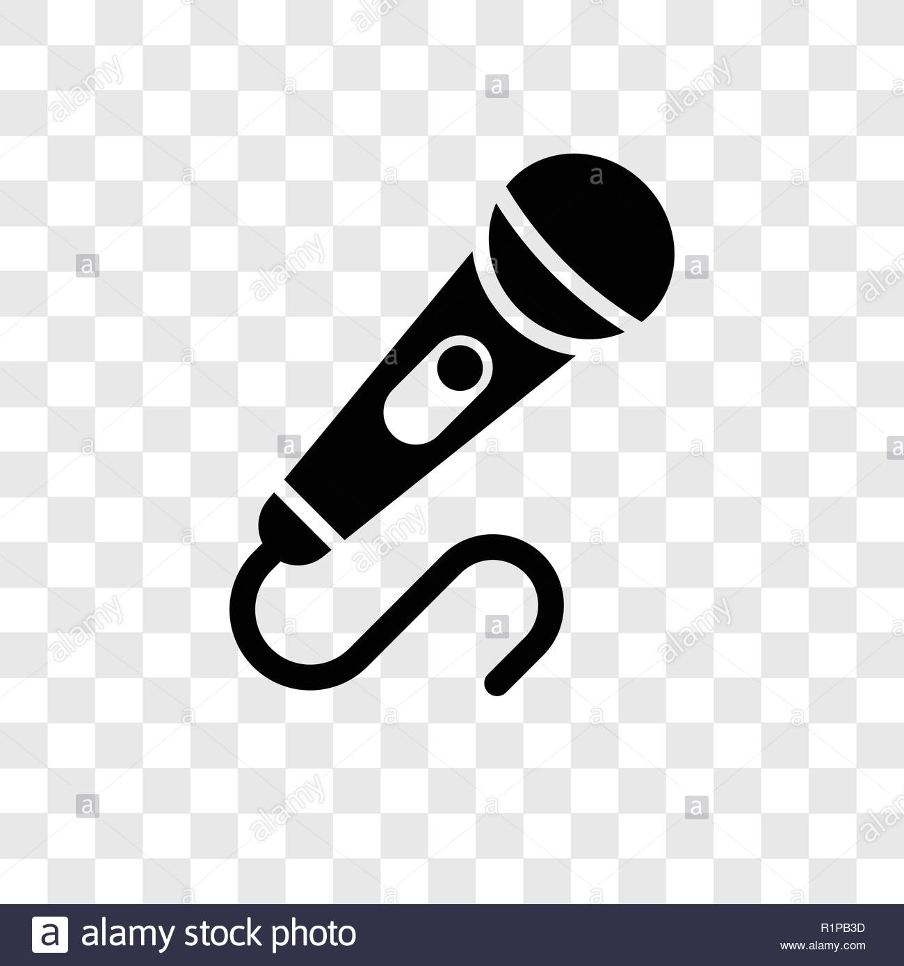 Microphone vector icon isolated on transparent background.