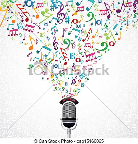 Microphone With Music Notes Clipart Clipground