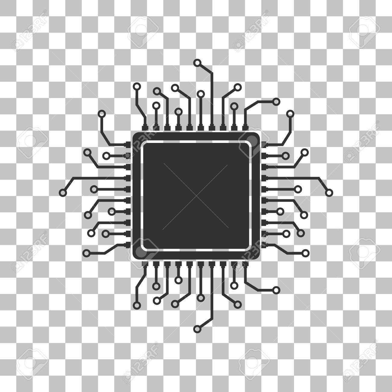 CPU Microprocessor Illustration. Dark Gray Icon On Transparent.