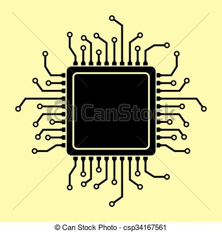 Clip Art Vector of CPU Microprocessor. Flat style chip icon.
