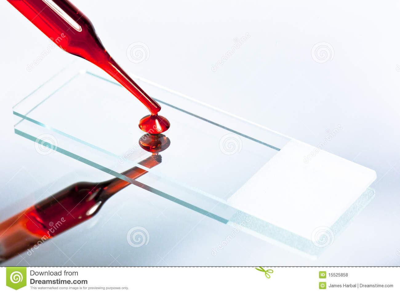 Dropped Blood Onto Microscope Slide 1 Royalty Free Stock Photos.