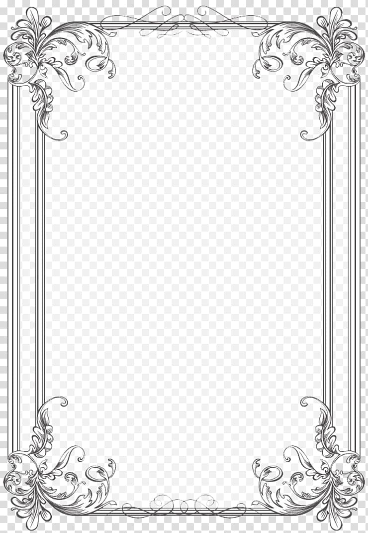 Silver and white floral frame, Borders and Frames Wedding.