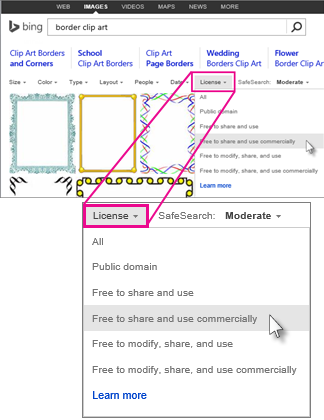 Search for border clip art using the license filter.