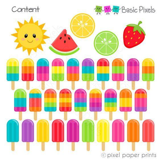 Summer Popsicles Clipart.