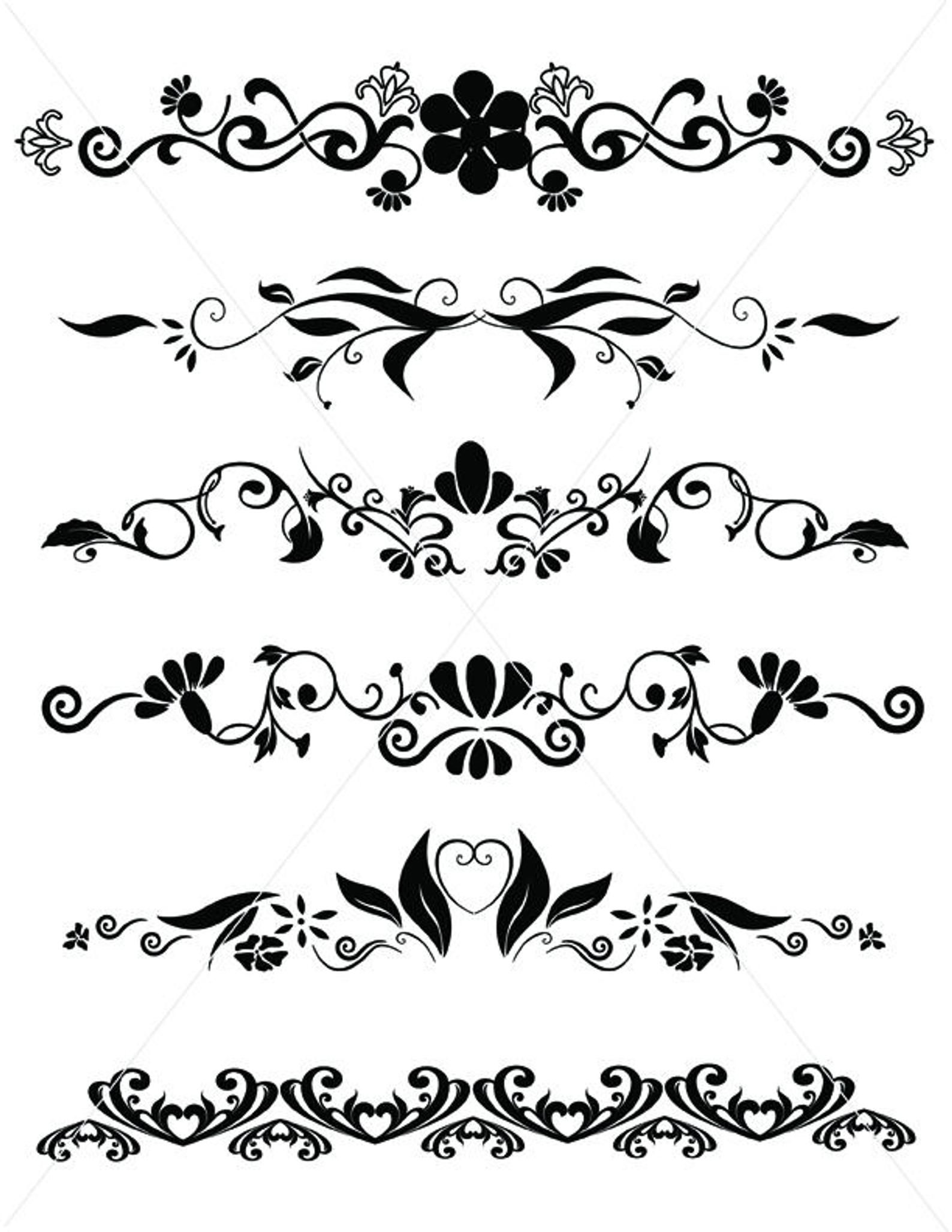 Flourishes, SVG Dividers Lines, Ornamental Borders, Scalabe.