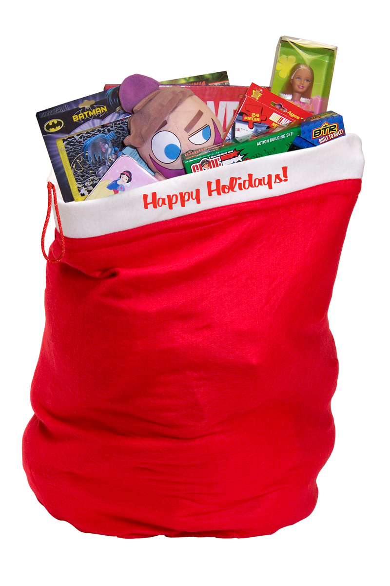 Santa With Bag Of Toys Clipart.