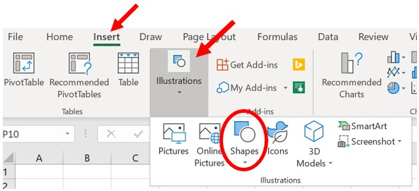 How to Add or Edit Shapes in Microsoft Word and Excel.