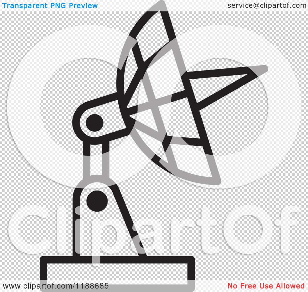 Clipart of a Black and White Satellite Dish Icon.