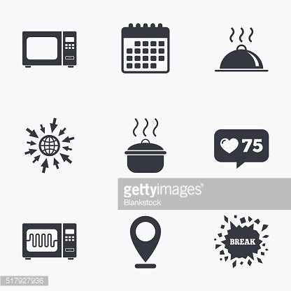 Microwave oven icon. Cooking pan, food serving. Clipart.