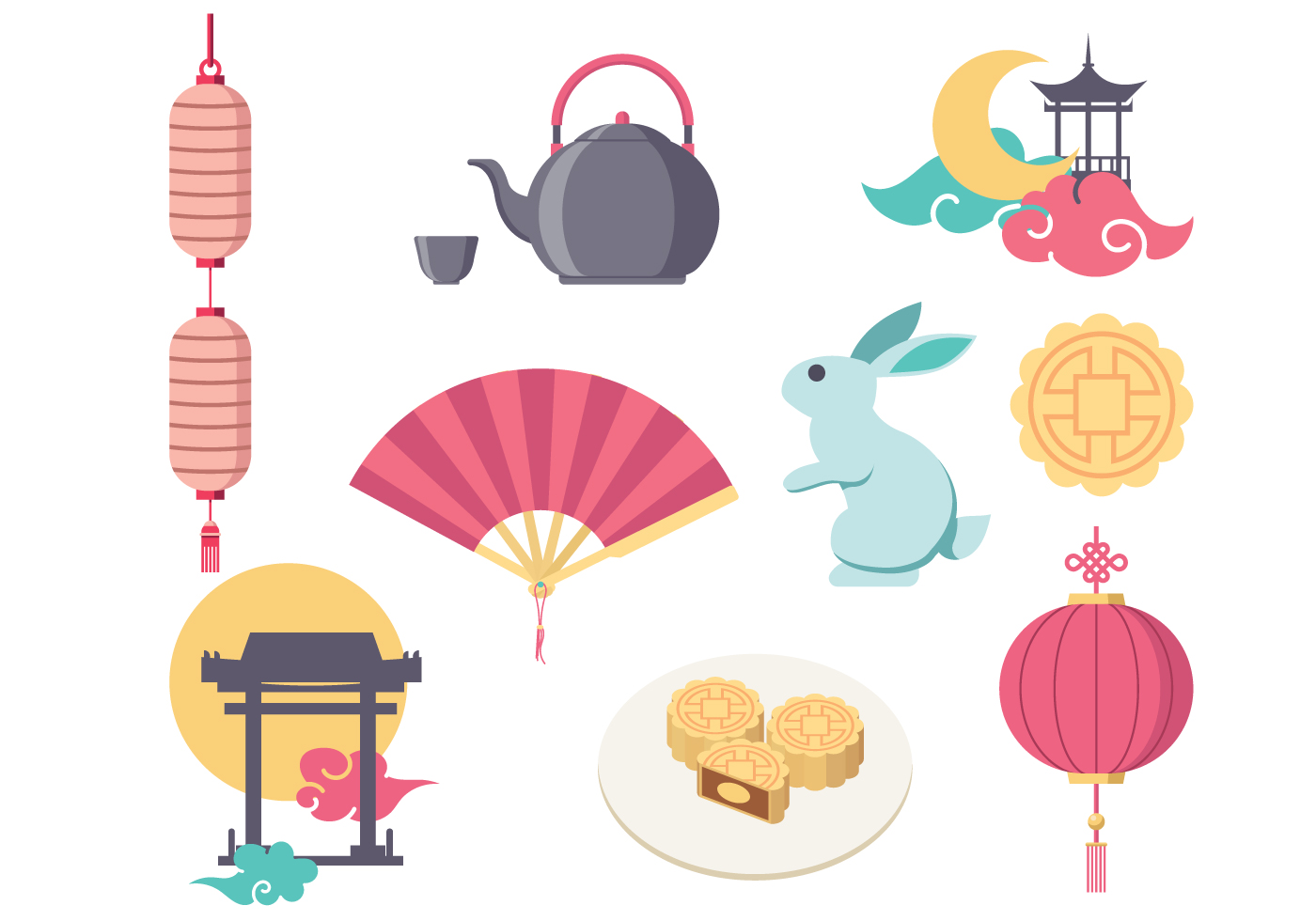 Mid Autumn Festival Vector Icon.