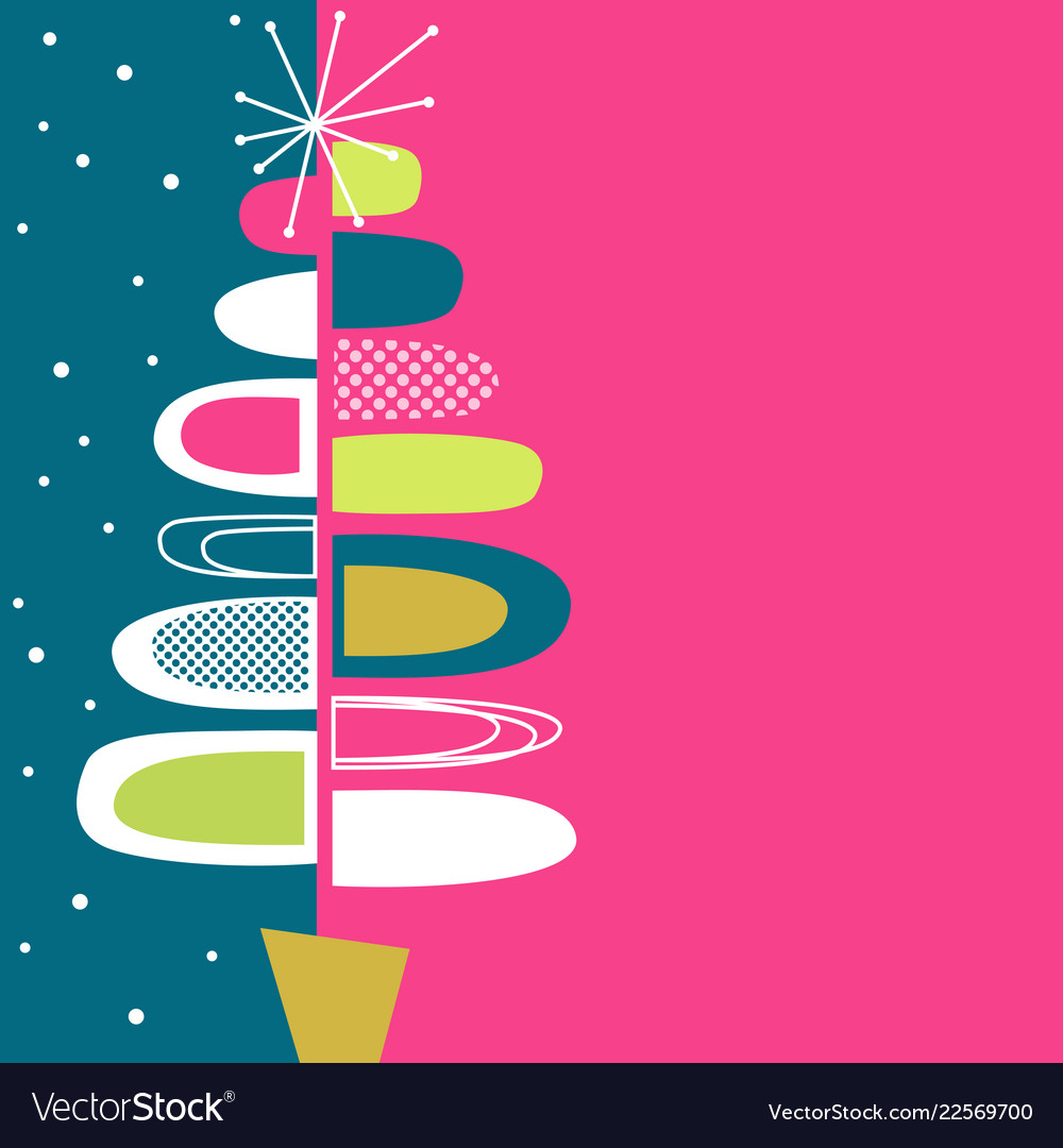 Midcentury modern abstract christmas tree design.