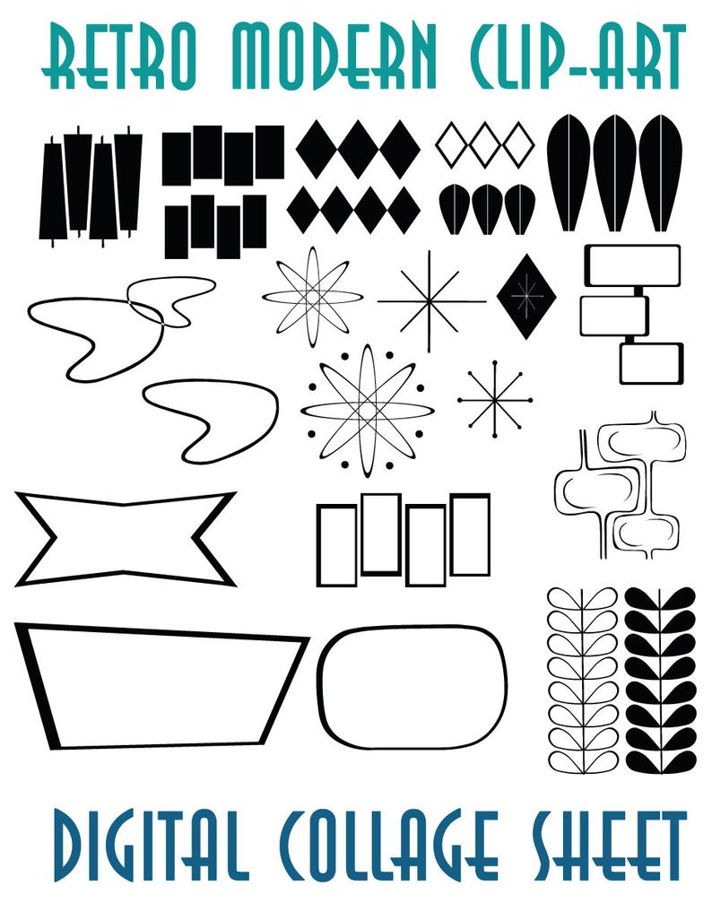 Retro Mid Century Modern Clip Art Instant Download Scrapbook Supplies.