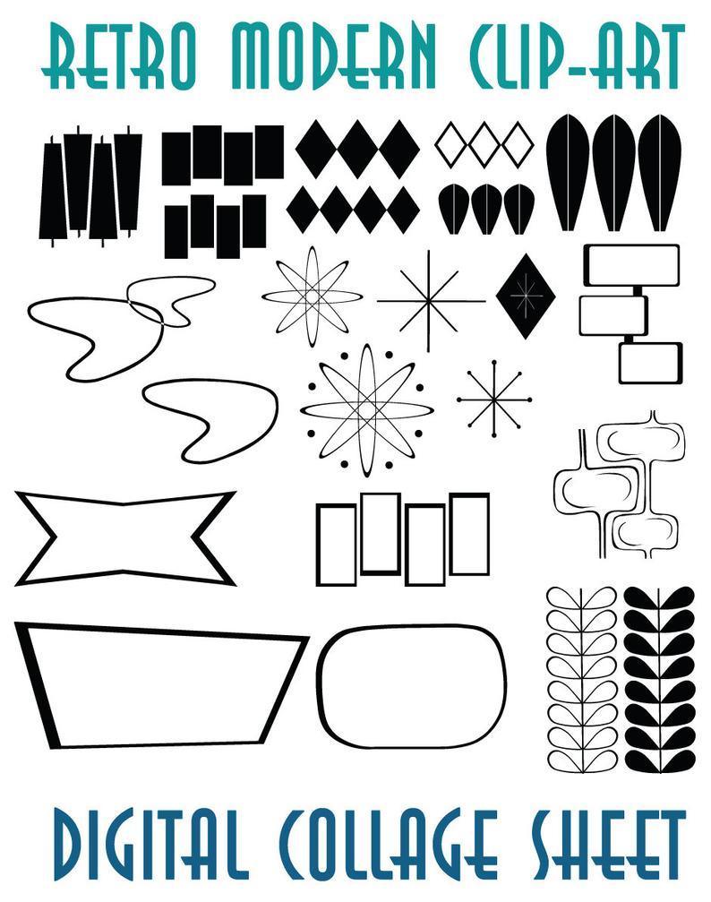Retro Mid Century Modern Clip Art Instant Download Scrapbook Supplies.