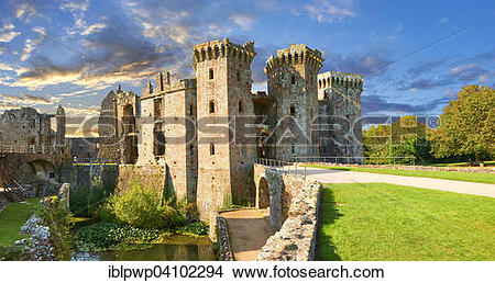 Stock Photo of Raglan Castle, Castell Rhaglan, late medieval.