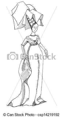 Stock Photographs of woman dressed in fashion of mid.