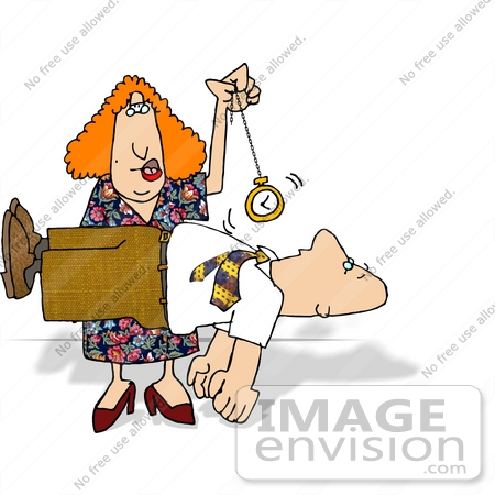 Hypnotist Woman Swinging a Pocket Watch Over a Client Who is.