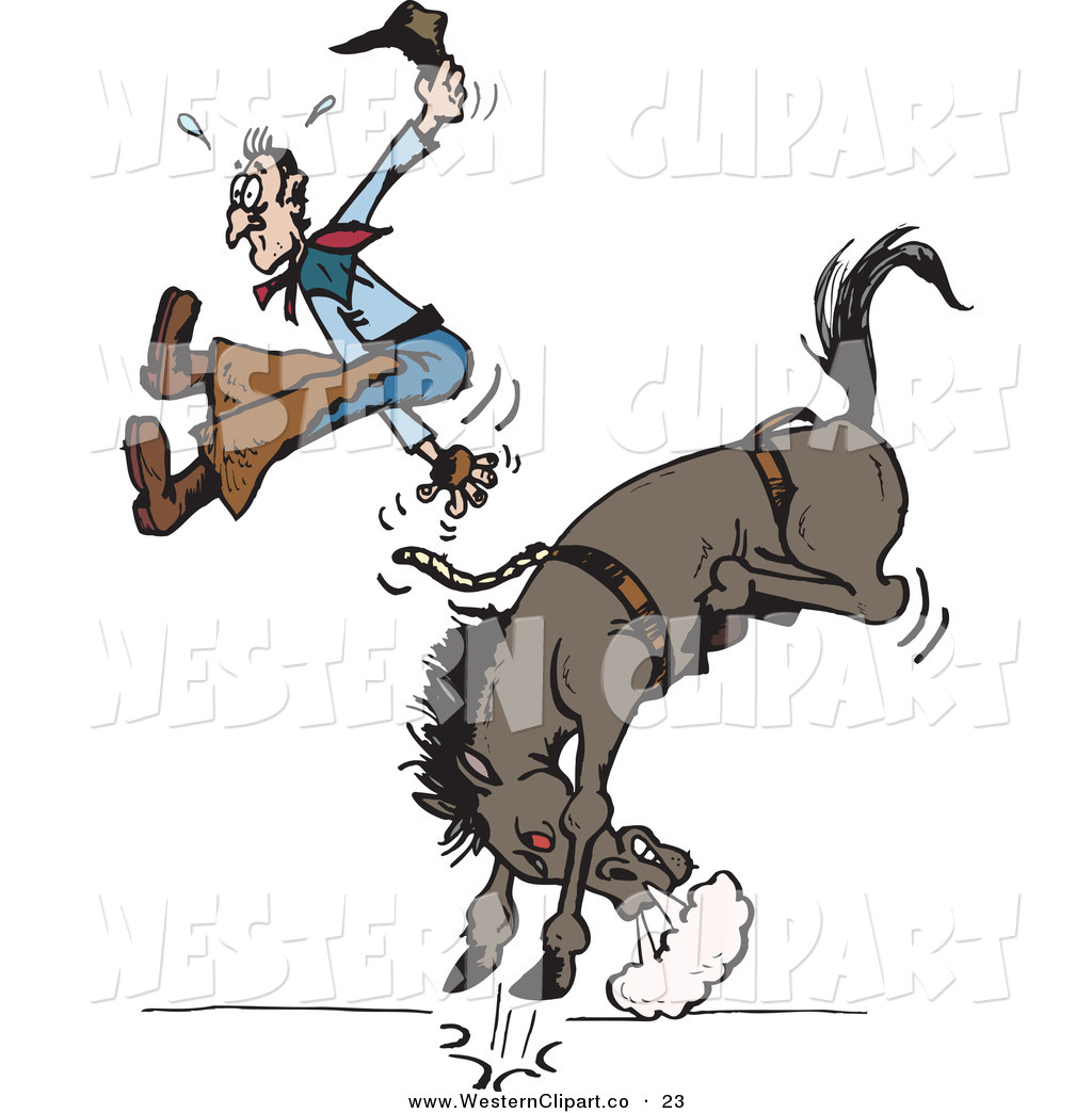 Vector Western Clip Art of a Cowboy Suspended in Mid Air While.