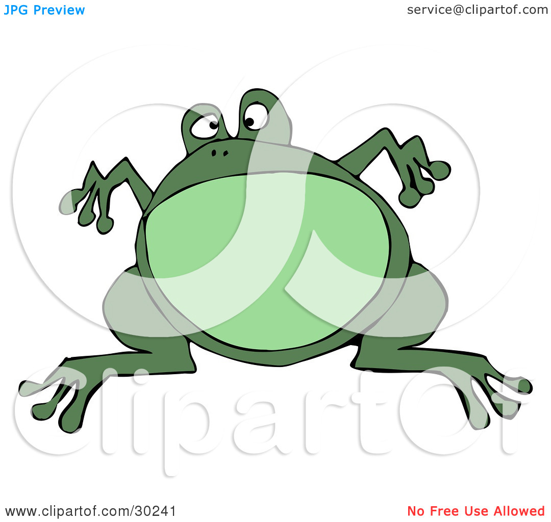 Clipart Illustration of a Big Green Bullfrog Leaping And Suspended.