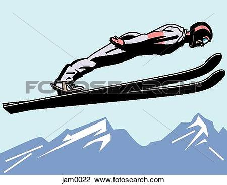 Clip Art of An image of a ski jumper in mid air jam0022.