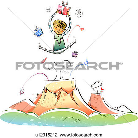 Clip Art of Man holding a gift and jumping in the mid.
