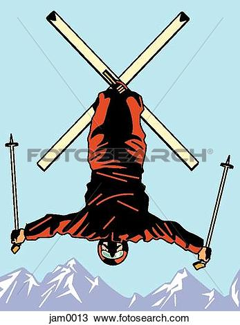 Drawing of A freestyle skier in mid air jam0013.
