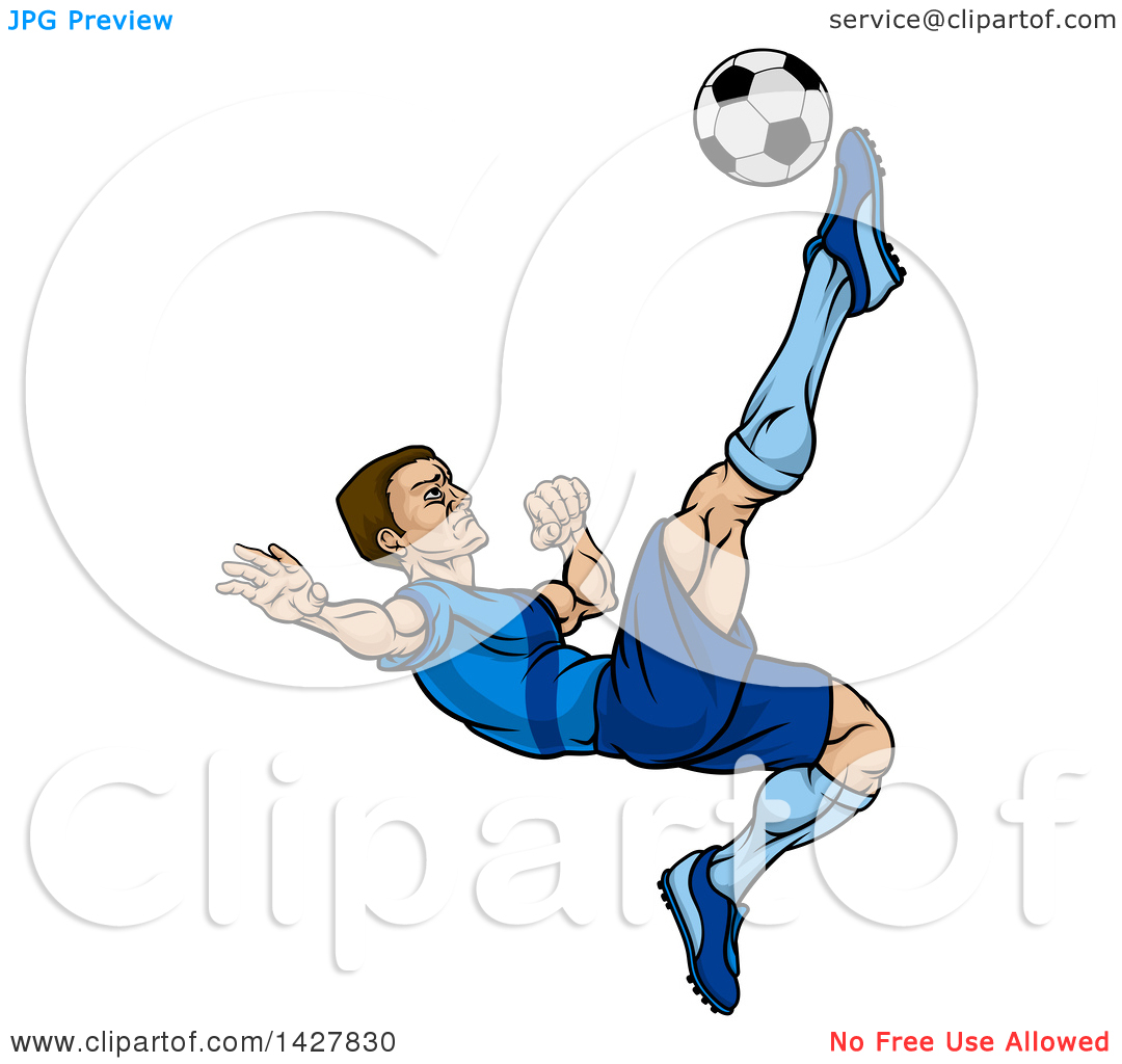 Clipart of a Cartoon Male Soccer Player in a Blue Uniform, Kicking.