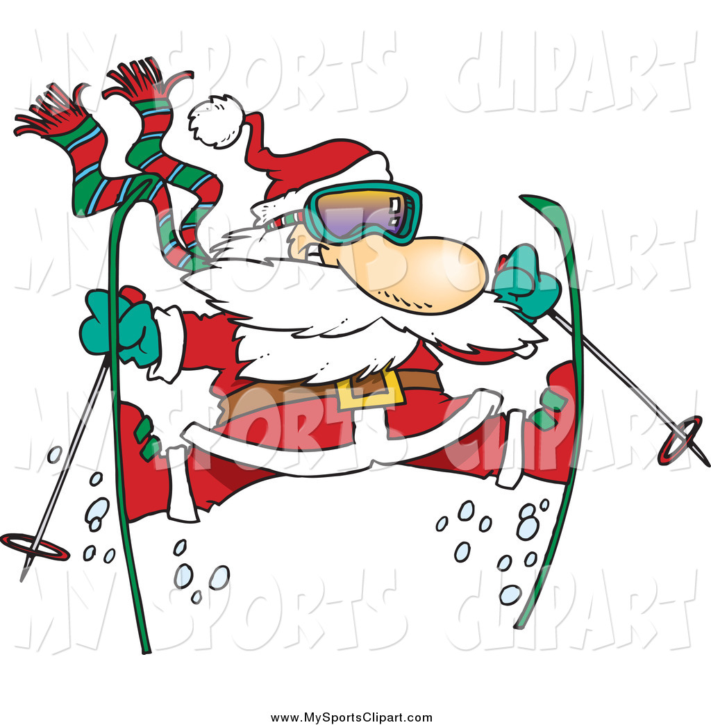 Sports Clip Art of a Cartoon Skiing Santa Doing the Splits in Mid.