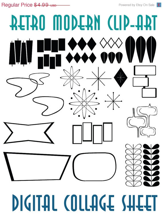 Retro Mid Century Modern Clip Art Instant Download Scrapbook.