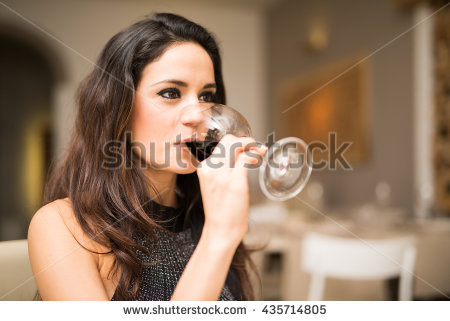 Woman Drinking Wine Stock Images, Royalty.