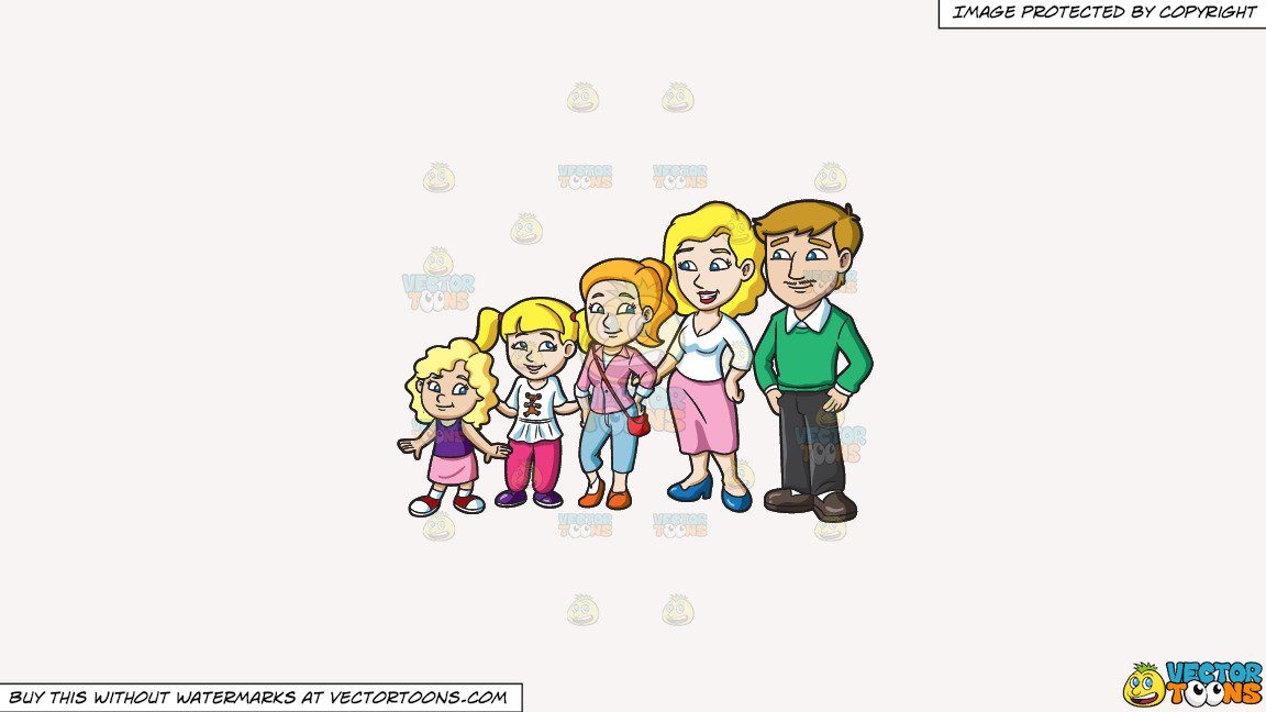 Clipart: A Couple With Three Pretty Daughters on a Solid White Smoke F7F4F3  Background.