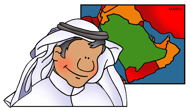 Free Middle East Clip Art by Phillip Martin, Saudi Man and Map.