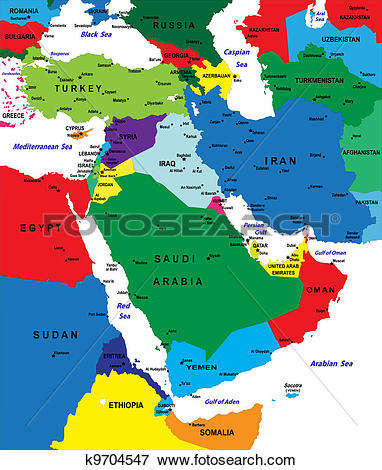 Clip Art of Middle east political map k9704547.