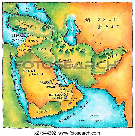 Clip Art of Map of the Middle East x27544302.