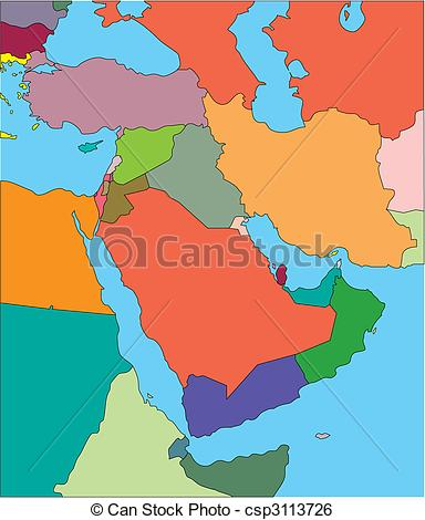 Clip Art Vector of Middle East with Editable Countries.