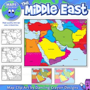 Middle East Maps: Clip Art Map Set.
