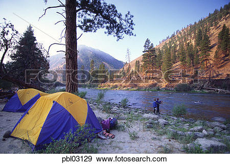 Stock Photograph of Flyfishing, Rafting, Middle Fork, Salmon River.