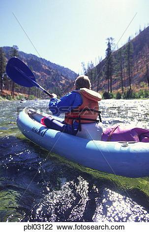 Stock Photo of Kayaking, Middle Fork, Salmon River, Idaho pbl03122.