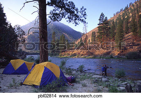 Stock Photo of Camping, Middle Fork, Salmon River, Idaho pbl02814.