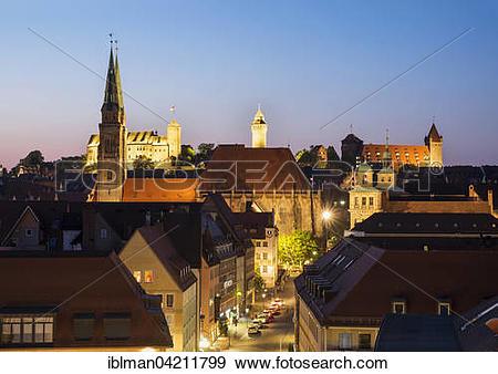 Stock Photograph of Sebalder historic centre with St. Sebaldus.